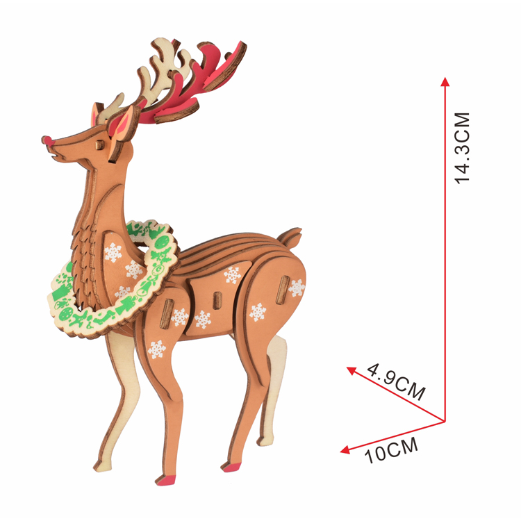 Christmas animal fawn wooden puzzle