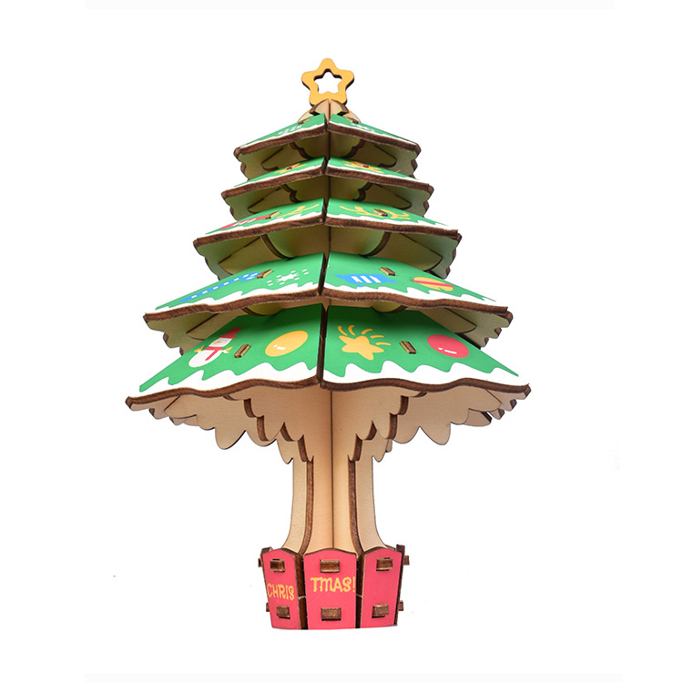 3D wooden colorful christmas tree puzzle