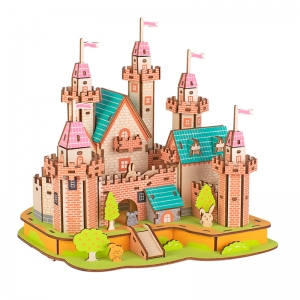 hot selling Paradise Castle Plywood Material 3D Jigsaw puzzle