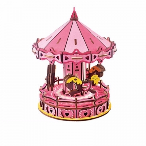 Wooden pink carousel Music Box